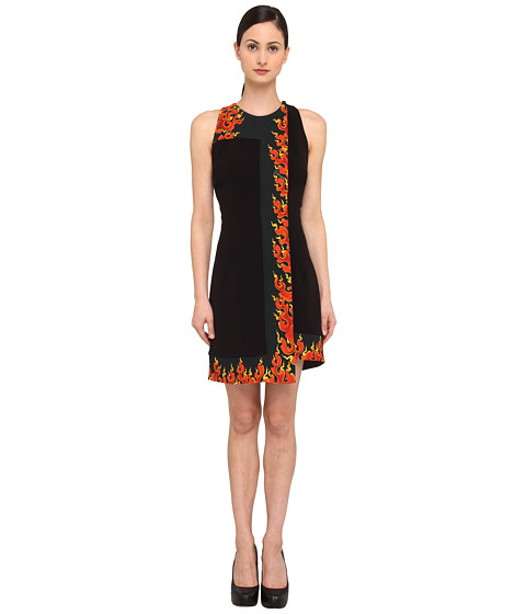 Just Cavalli - Faux Wrap Fire Print Dress (Black) Women