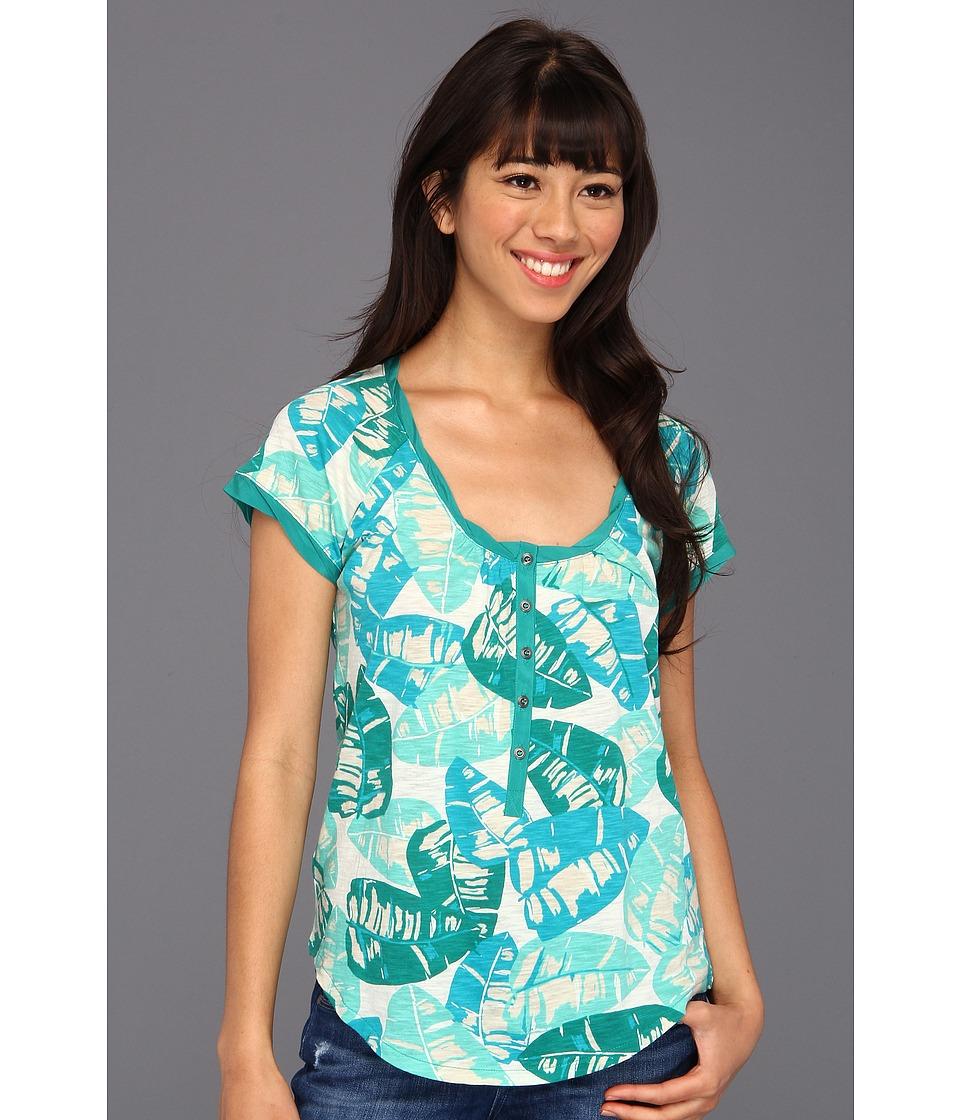 Lucky Brand Kaylee Palm Top Womens Short Sleeve Pullover (Green)