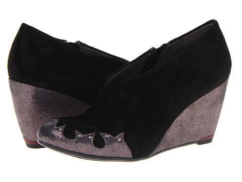 Oh! Shoes - Rondola (Black Suede/Lizard) Women's Wedge Shoes