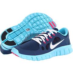 Nike Kids Free 5.0 (Big Kid) (Brave Blue/Gamma Blue/Pink Foil/White) Girls Shoes