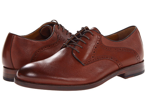 Johnston & Murphy - Clayton Saddle (Dark Tan Pebble Scotchgrain/Smooth Calfskin) Men's Plain Toe Shoes