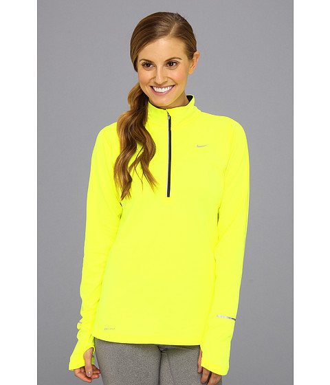 Nike - Element Half-Zip (Volt/Black/Reflective Silver) Women's Long Sleeve Pullover