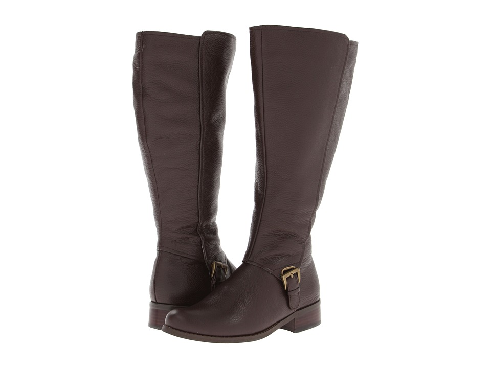 Fitzwell - Myla Wide Calf Boot (Dark Brown Pebble Calf) Women's Zip Boots