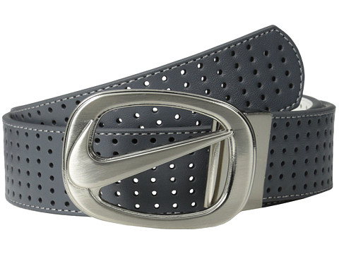 Nike - Perforated Swoosh Logo Cutout (Grey/White) Women's Belts