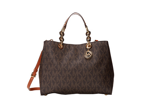 MICHAEL Michael Kors Cynthia Large Satchel (Brown) Satchel Handbags