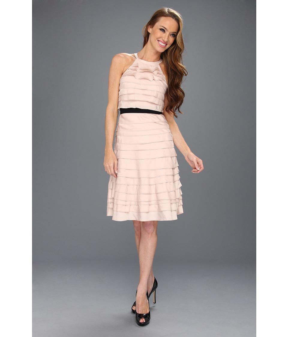 BCBGMAXAZRIA - Madison Ruffle Tier Halter Dress (Bare Pink) Women