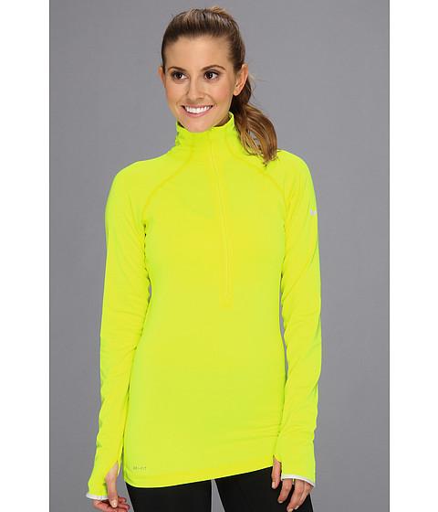Nike - Nike Pro Hyperwarm 1/2 Tipped Zip (Volt/Dusty Grey) Women's Long Sleeve Pullover
