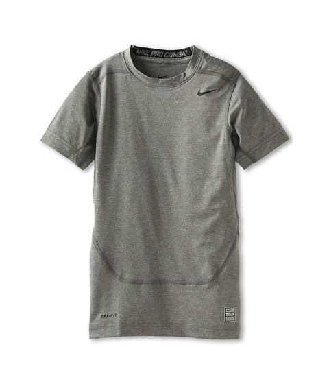Nike Kids - Short-Sleeve Core Compression Top (Little Kids/Big Kids) (Carbon Heather/Black) Boy's Short Sleeve Pullover