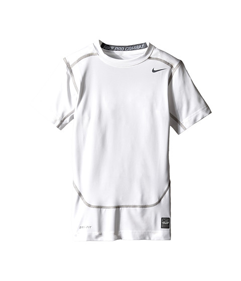 Nike Kids - Short-Sleeve Core Compression Top (Little Kids/Big Kids) (White/Cool Grey) Boy's Short Sleeve Pullover