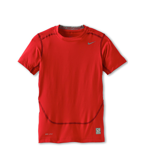 Nike Kids - Short-Sleeve Core Compression Top (Little Kids/Big Kids) (Gym Red/Cool Grey) Boy's Short Sleeve Pullover