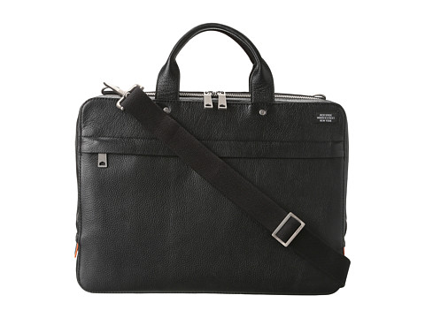 Jack Spade - Mason Leather Slim Brief (Black) Briefcase Bags