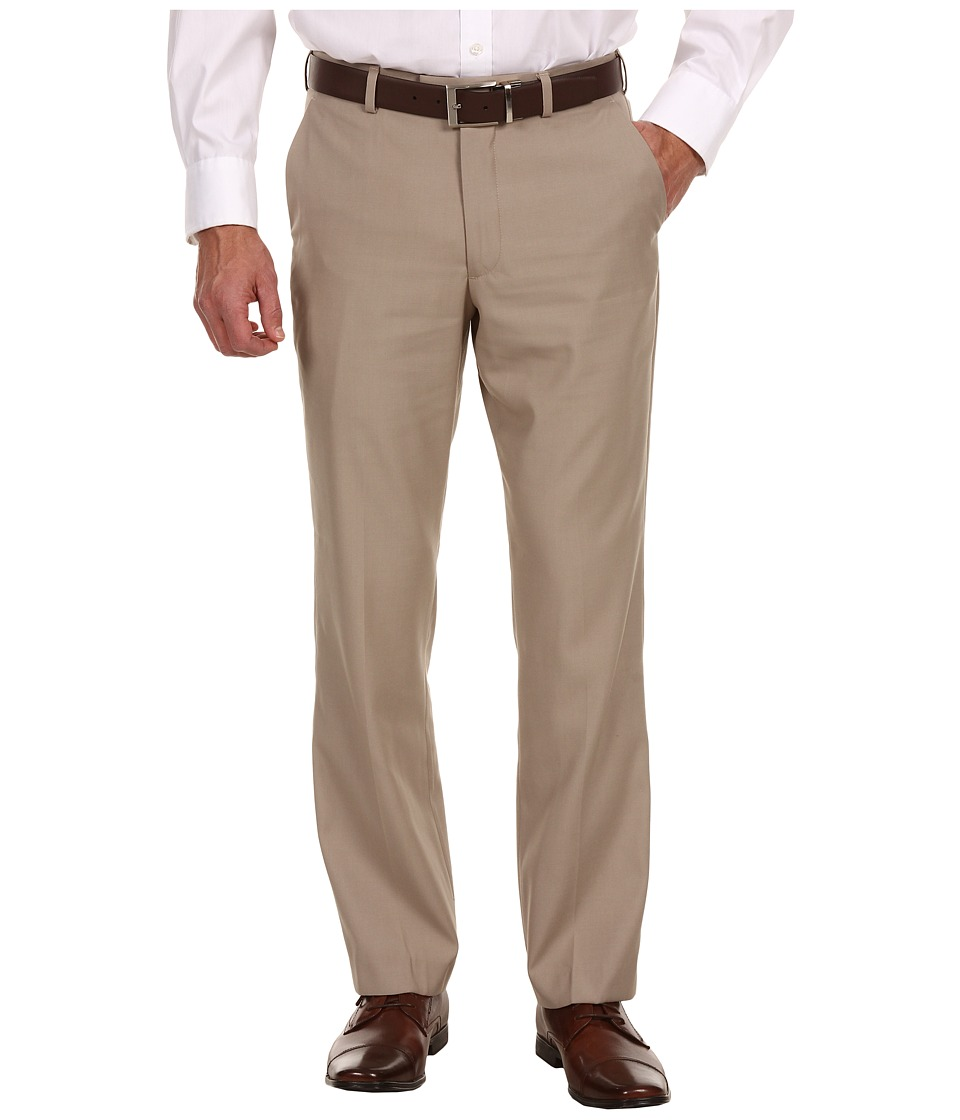 Perry Ellis Portfolio - Modern Fit Flat Front Bengaline Pant (Beach Bengaline) Men's Dress Pants