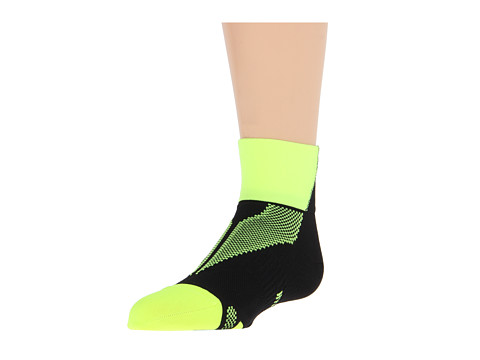 Nike - Hyper-Lite Convertible Quarter (Volt/Black) Quarter Length Socks Shoes