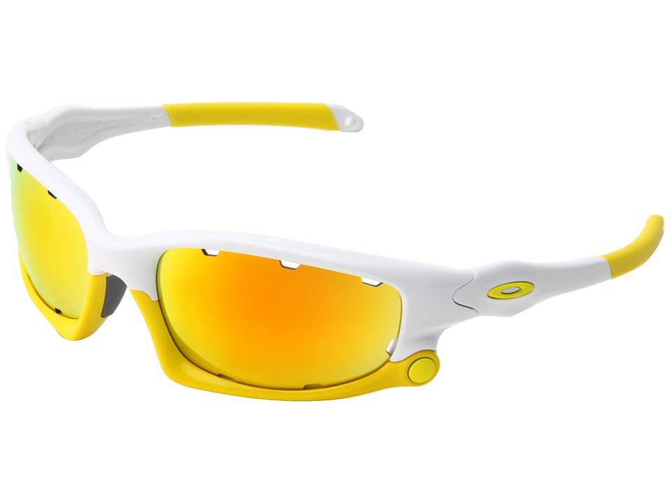 Oakley - Split Jacket (Polished White w/ Fire Iridium Vented/Persimmon Vented) Plastic Frame Sport Sunglasses