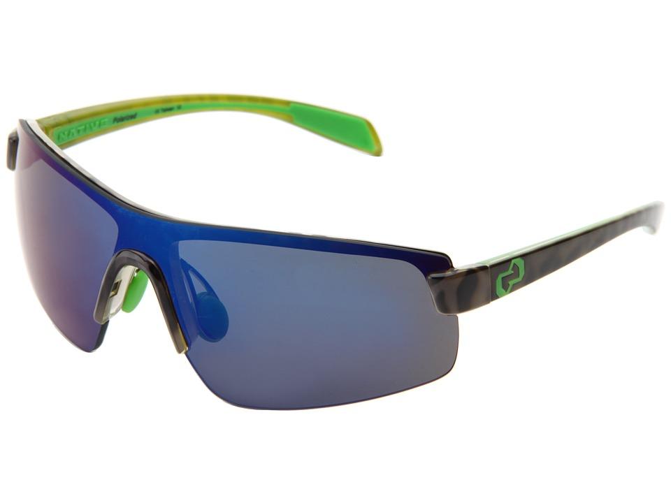 Native Eyewear - Lynx (Black Lime Burst/Blue Reflex Lens) Athletic Performance Sport Sunglasses