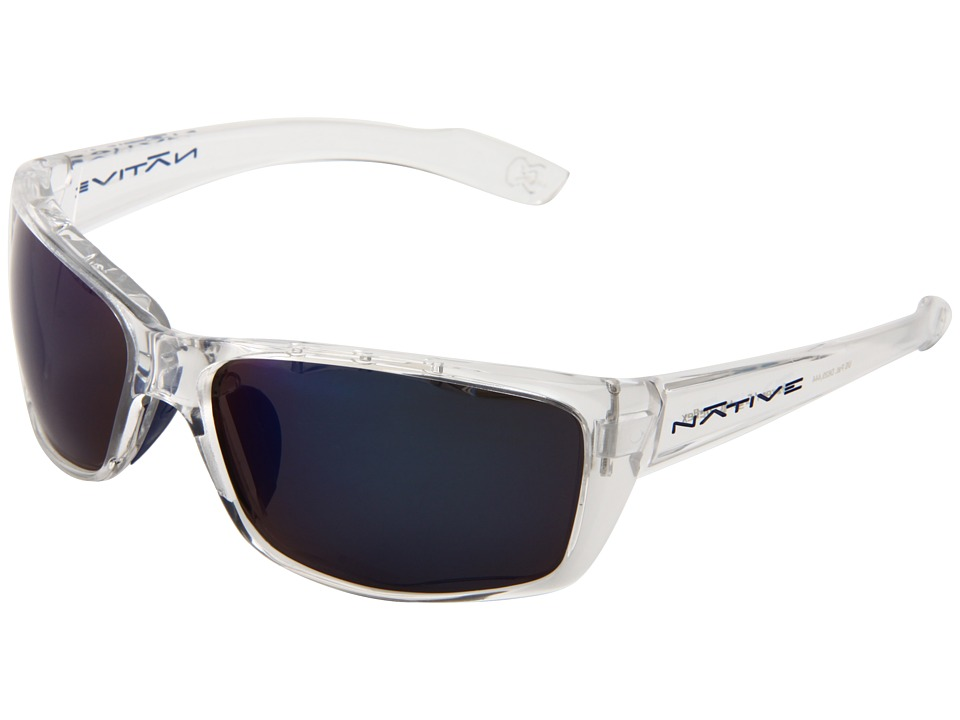 Native Eyewear - Wazee (Crystal/ Blue Reflex (Gray) Lens) Athletic Performance Sport Sunglasses