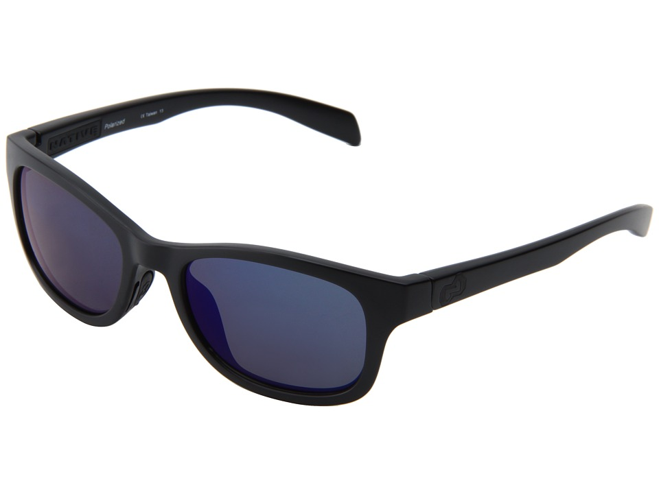 Native Eyewear - Highline (Asphalt/Black/Blue Reflex Lens) Athletic Performance Sport Sunglasses