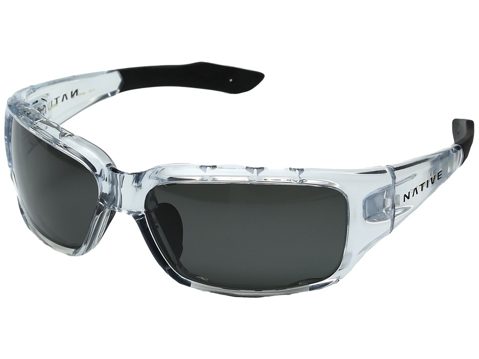 Native Eyewear - Bolder (Crystal/Black cush/Gray Lens) Athletic Performance Sport Sunglasses