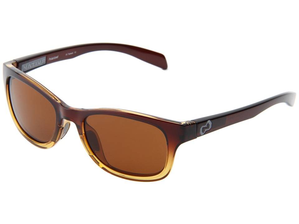 Native Eyewear - Highline (Stout Fade/Iron Temple/ Grey/ Brown Lens) Athletic Performance Sport Sunglasses
