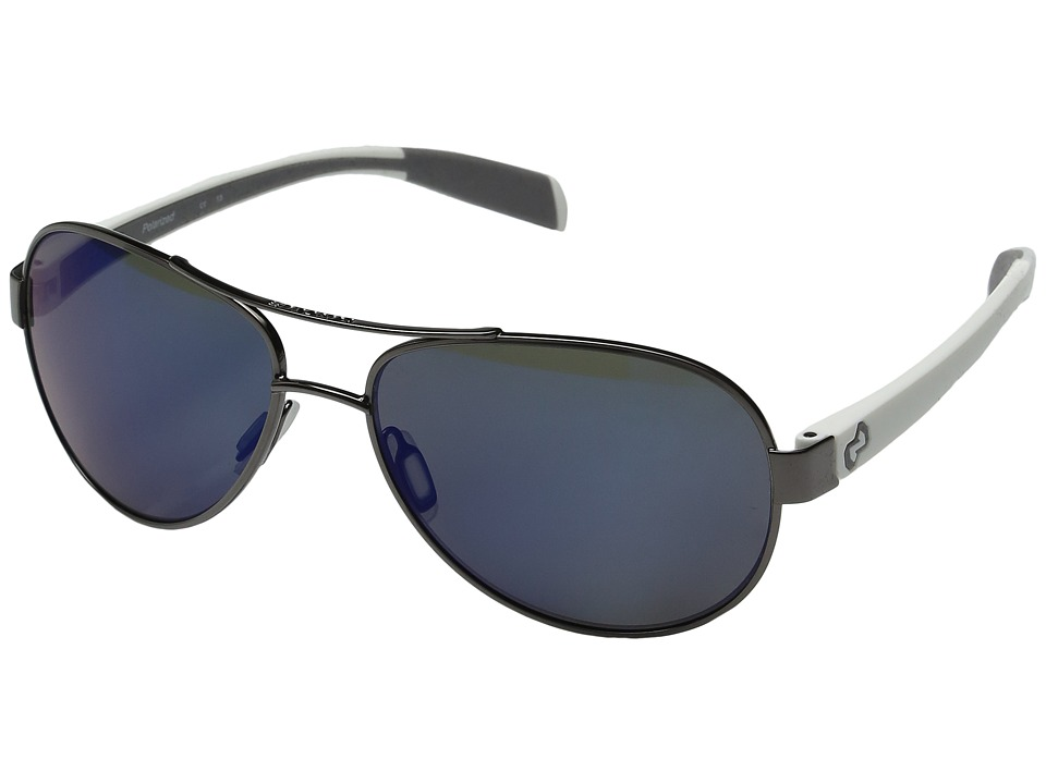 Native Eyewear - Haskill (Gunmetal/White/Grey/Blue Reflex Lens) Athletic Performance Sport Sunglasses