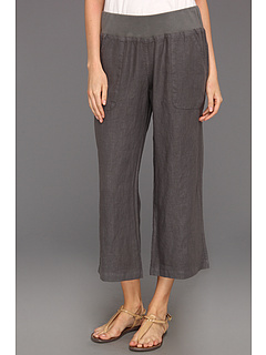 SALE! $29.99 - Save $50 on Allen Allen Crop Linen Pant Rib Waist (Dark Grey) Apparel - 62.51% OFF $80.00
