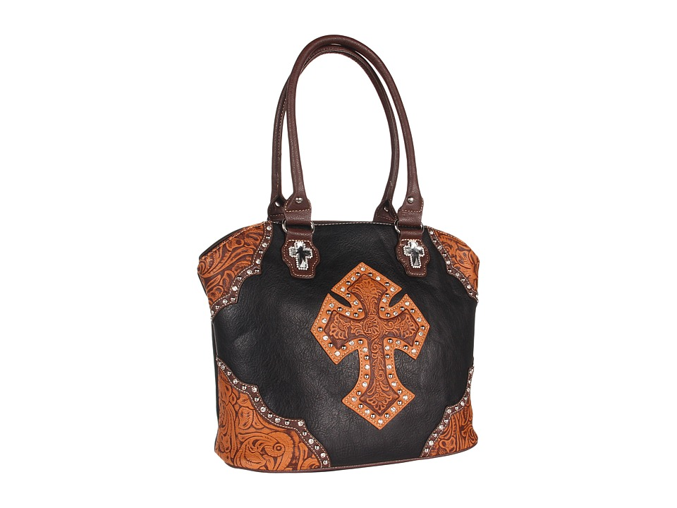 M&F Western - Tooled Cross Tote (Black/Tan) Tote Handbags