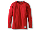 Nike Kids Hyperwarm Compression L/S Top (Little Kids/Big Kids) (Gym Red/Cool Grey) Boy's Long Sleeve Pullover