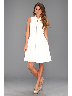 SALE! $71.99 - Save $56 on Vince Camuto Fit Flare Scuba Dress W Exposed CF Zip (White) Apparel - 43.76% OFF $128.00