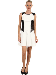 SALE! $216.99 - Save $178 on Tibi Italian Flirty Ponte Dress (Off White Black) Apparel - 45.07% OFF $395.00