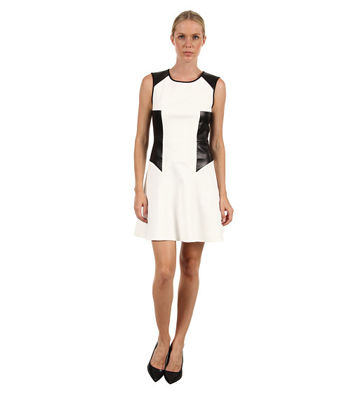 tibi - Italian Flirty Ponte Dress (Off White/Black) Women's Dress