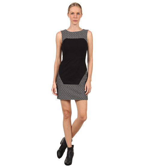 tibi - Diamond Jacquard Knit Paneled Dress w/ Ponte Combo (Off White/Black Multi) Women's Dress