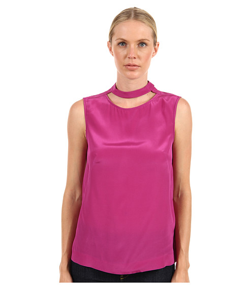 tibi - Solid Silk Cut Out Easy Top (Grape) Women's Blouse