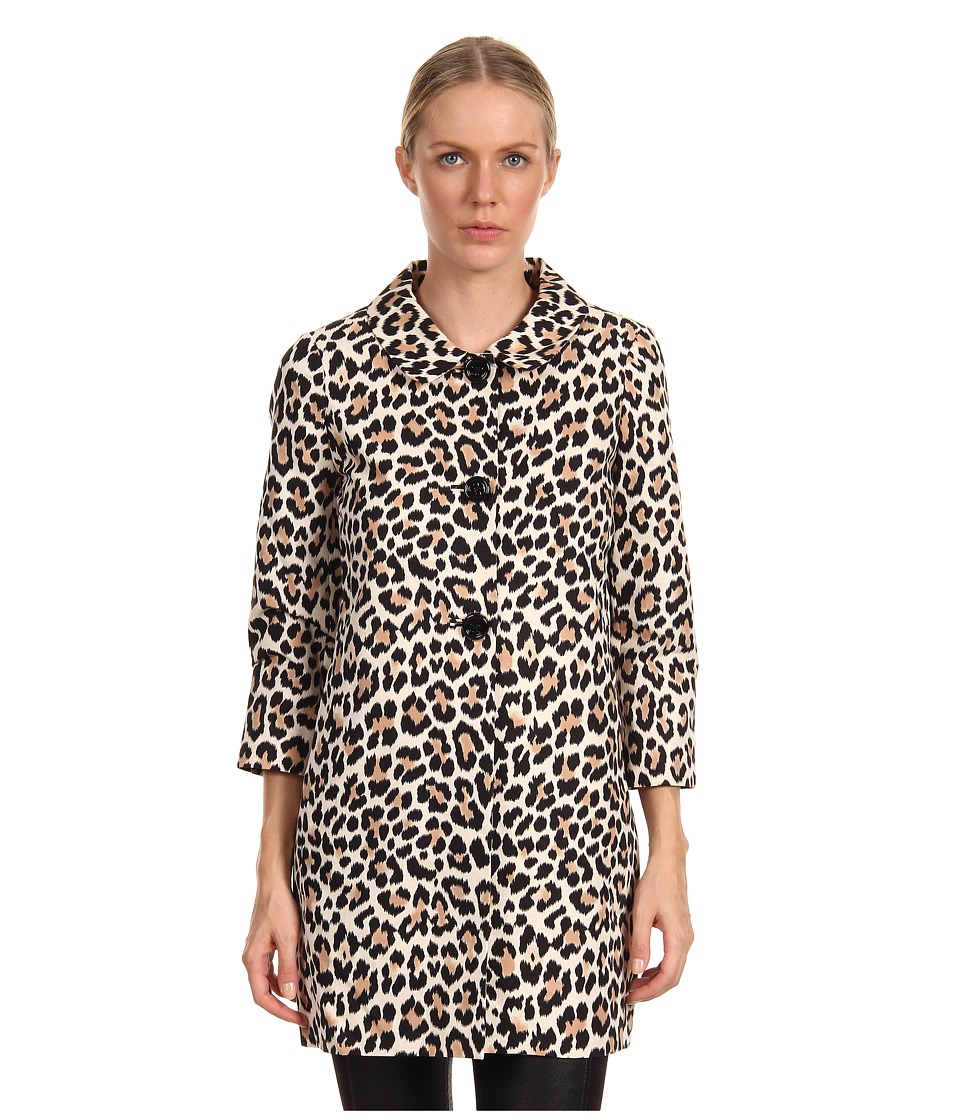 Kate Spade New York - Franny Coat (Neutral Ikat Disco Animal) Women's Coat