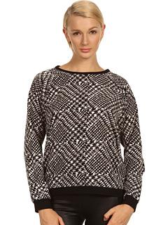 SALE! $156.99 - Save $128 on tibi Printed Tweed Sweatshirt (Black Multi) Apparel - 44.92% OFF $285.00