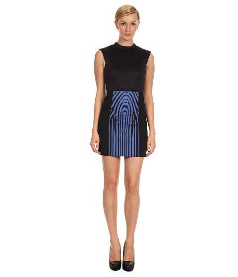 tibi - Zebra Stripe Dress w/ Neoprene (Ultramarine Multi) Women