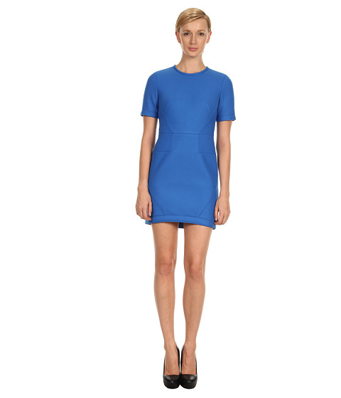 tibi - Bonded Techy Twill S/S Dress (Ultramarine) Women