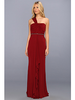SALE! $364.99 - Save $298 on Badgley Mischka One Shoulder Drape Beaded Dress (Garnet) Apparel - 44.95% OFF $663.00