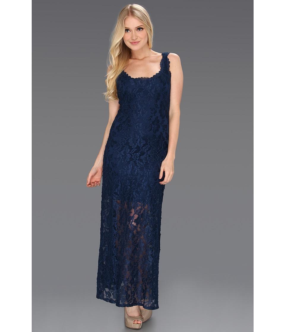 Hale Bob Lacy Lady Tank Stretch Lace Maxi Dress Womens Dress (Blue)