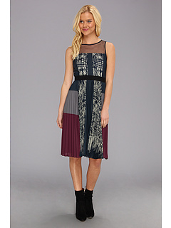 SALE! $201.99 - Save $166 on BCBGMAXAZRIA Lucea Pleated Dress (Light Carbon Combo) Apparel - 45.11% OFF $368.00