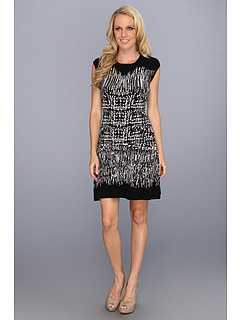 SALE! $146.99 - Save $121 on BCBGMAXAZRIA Melissa Painted Houndstooth Dress (Black Combo) Apparel - 45.15% OFF $268.00