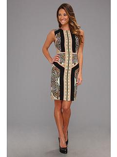 SALE! $149.99 - Save $148 on BCBGMAXAZRIA Lauren Blocked Scarf Print Sleeveless Dress (Slate Combo) Apparel - 49.67% OFF $298.00