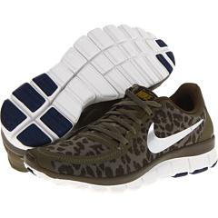 Nike Free 5.0 V4 (Medium Olive/Dark Loden/Brave Blue/Metallic Silver) Women's Shoes