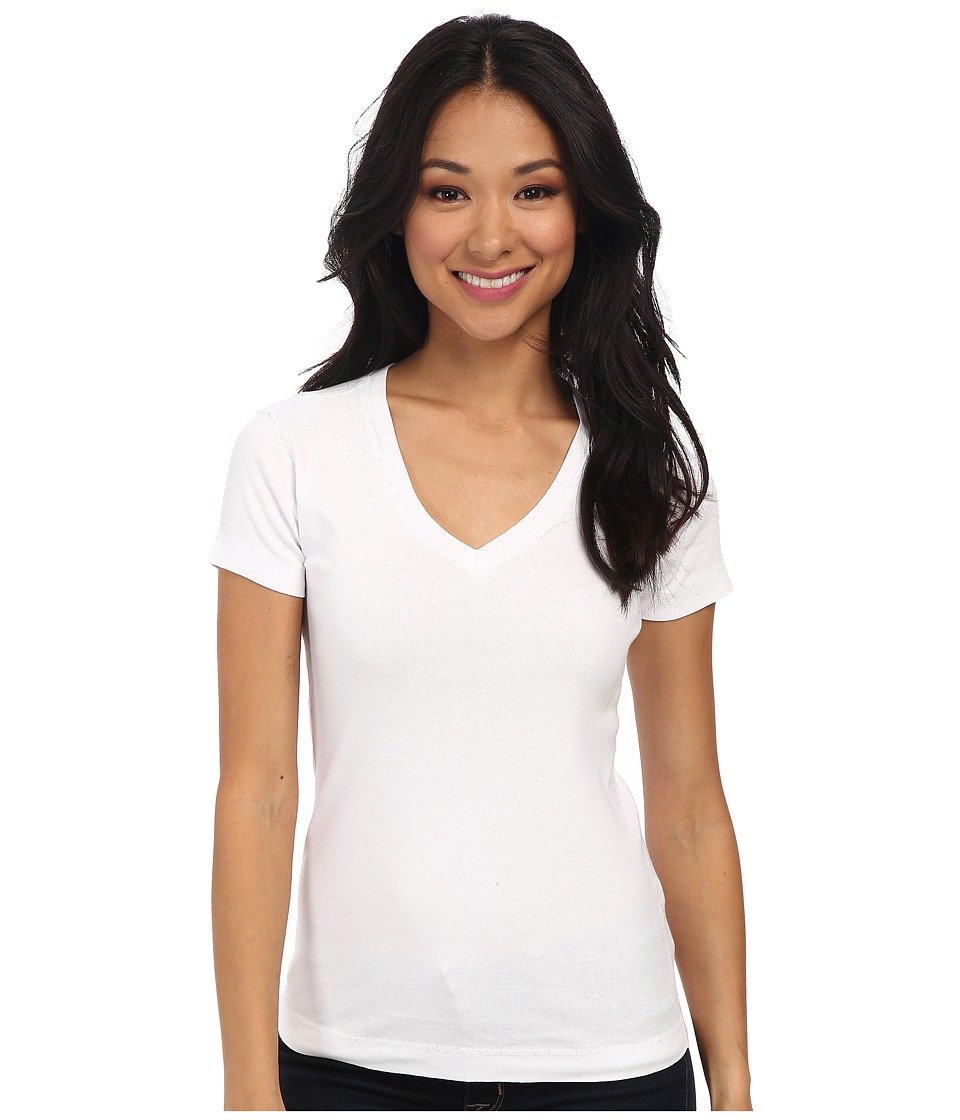 Three Dots - S/S Mid V (White) Women's Short Sleeve Pullover