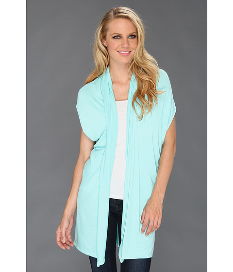 Three Dots - Covertible S/S Draped Cardigan (Aqua Mint) Women