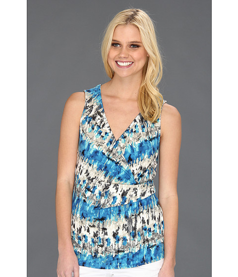 Three Dots - Sao Paulo Print V-Neck Side Wrap Top (Blue Multi) Women's Sleeveless