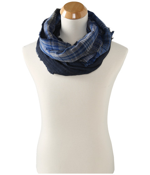 Echo Design - Crinkle Plaid Muffler (Deep Blue) Scarves