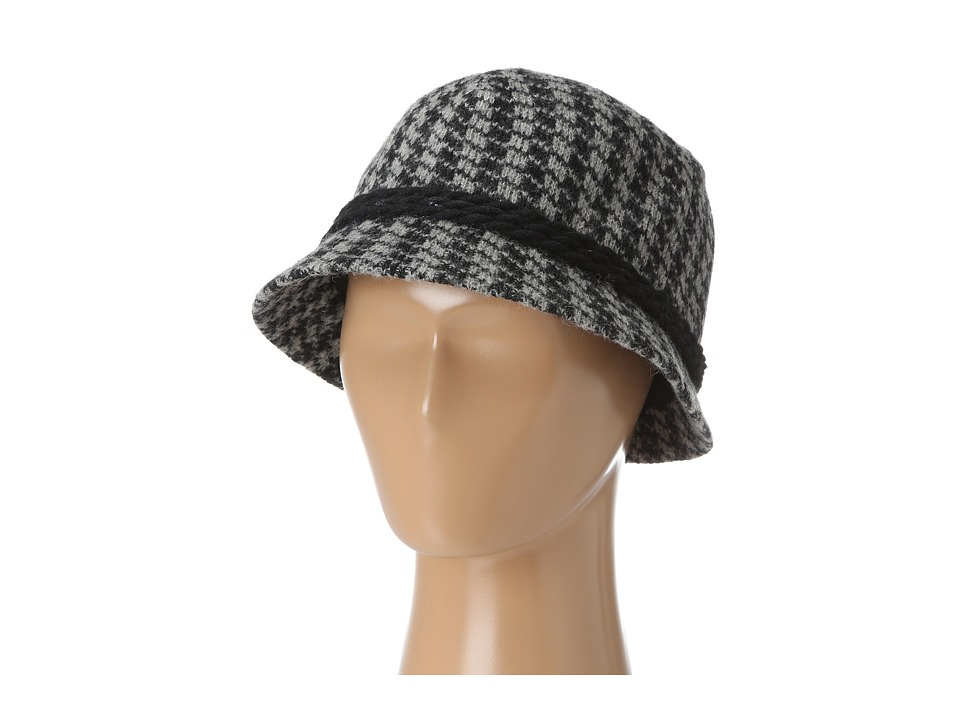San Diego Hat Company - CTH3632 Knot Houndstooth Cloche (Black/Grey) Traditional Hats