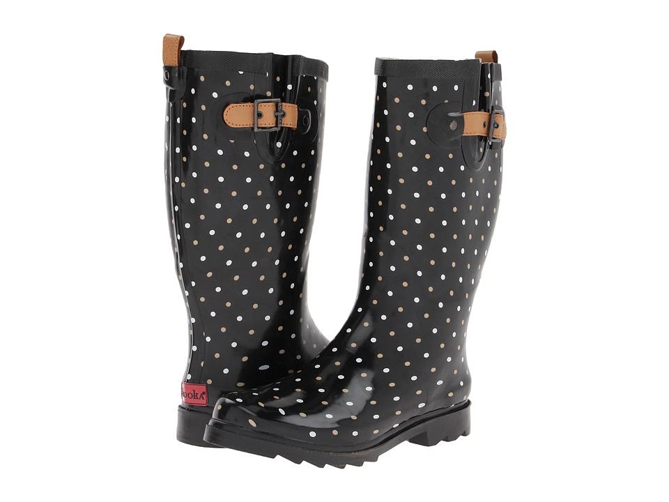 Chooka - Classic Dot Rain Boot (Black) Women's Rain Boots