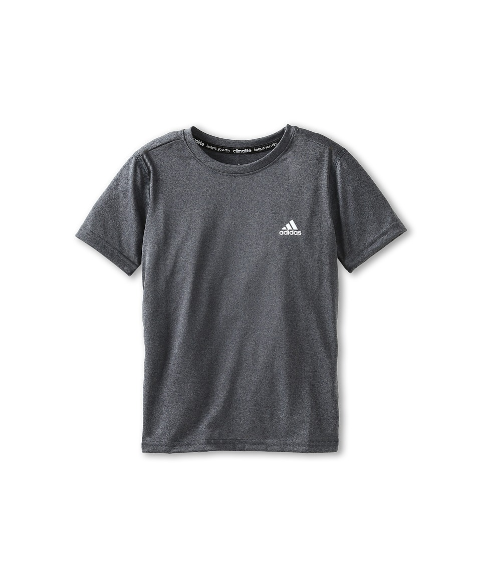 adidas Kids - Climalite S/S Tee (Little Kids/Big Kids) (Dark Grey Heather) Boy's Short Sleeve Pullover