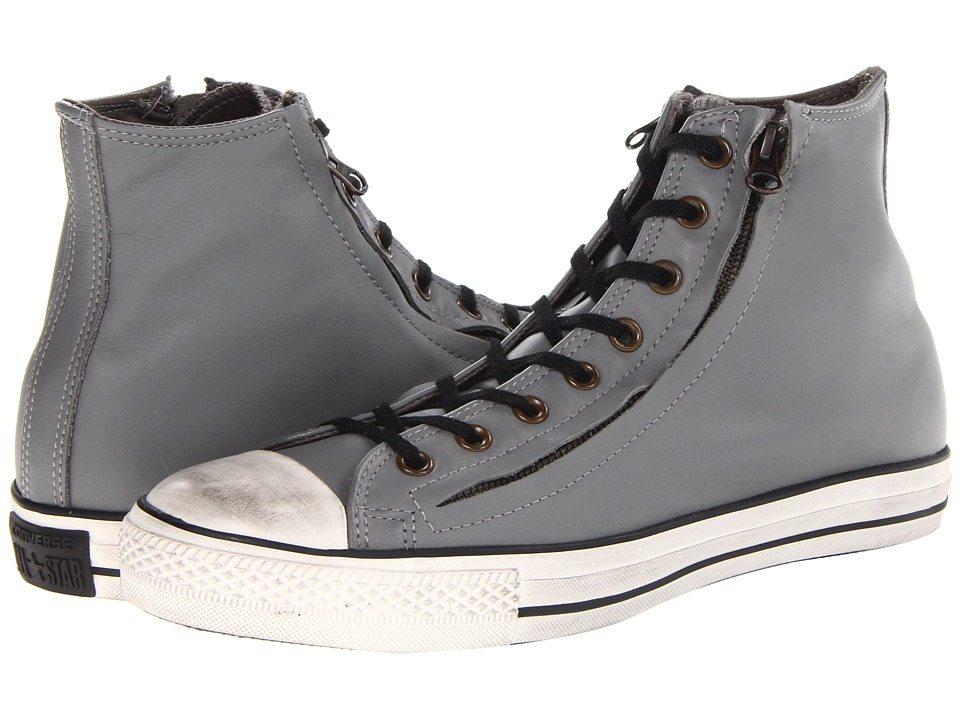 Converse - Chuck Taylor All Star Double Zip Leather Hi (Charcoal Gray) Shoes